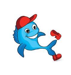 Funny dolphin cartoon fish sign seafood logo vector