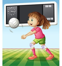 Girl playing volleyball in the field vector
