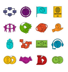 global connections icons doodle set vector image