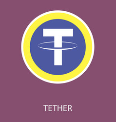 Gold tether coin on a gray background virtual vector