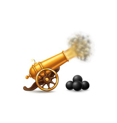 Golden cannon with fire vector