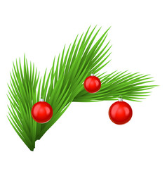 green lush spruce branch decorated with red toy vector image