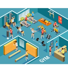 Gym Isometric Template vector image