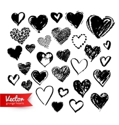 Hand drawn collection of Valentine hearts vector image