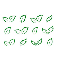 hand drawn set of green leaves icons vector image