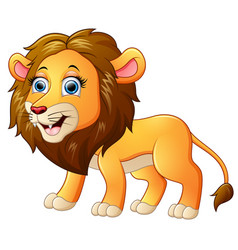 Happy lion cartoon isolated on white background vector