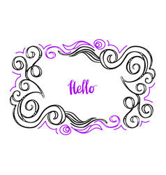 hello doodle floral frame-08 vector image