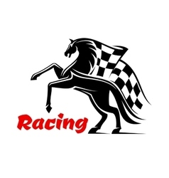 Horse race icon with racing checkered flag vector