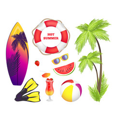 Hot summer collection of items vector