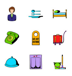 inn icons set cartoon style vector image
