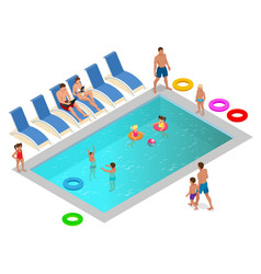 Isometric family enjoying summer vacation in vector
