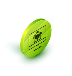 isometric line computer monitor with smart home vector image