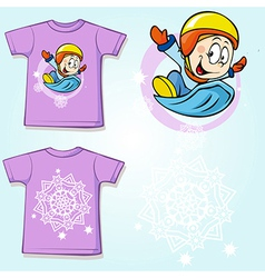 Kid shirt with winter sportsmen on sled printed vector