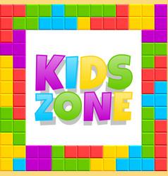 kids zone playground logo poster cartoon vector image