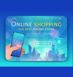 Landing page template of online shopping vector