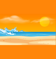landscape background design with ocean and sunset vector image