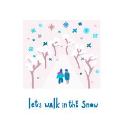 lets walk snowflake tongue winter christmas season vector image