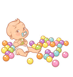 little baboy in diaper hold plastic ball vector image