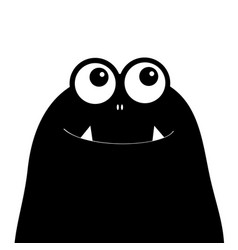 Monster head silhouette two eyes teeth fang black vector