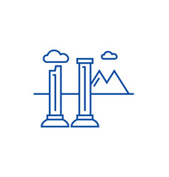 monuments of ruins line icon concept monuments of vector image