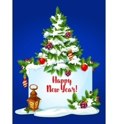 New Year pine tree greeting card vector image