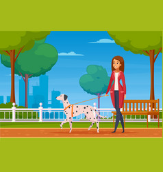 people with pets cartoon background vector image