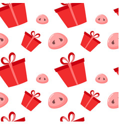 Pig is a symbol 2019 new year seamless pattern vector
