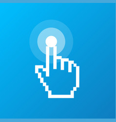 pixel computer cursor push button sign vector image