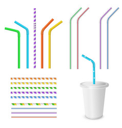 plastic fastfood cup for beverages with straw vector image
