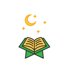 Read quran at night time simple monoline icon vector