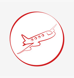 red airplane icon design vector image