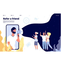 Refer a friend people shouting on megaphone with vector