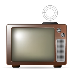 retro tv with antenna vector image vector image