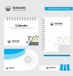 Robot logo calendar template cd cover diary vector