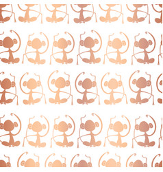 rose gold foil monkey silhouettes on white pattern vector image