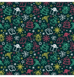 seamless pattern colorful Christmas items vector image