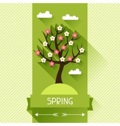 Seasonal with spring tree in flat vector