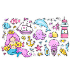 Set cartoon stickers patches badges pins vector