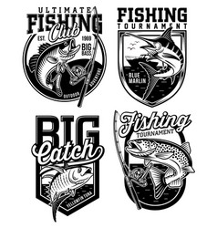Set fishing emblem designs vector