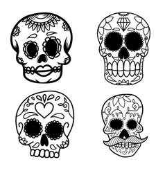 Set hand drawn mexican sugar skull isolated on vector