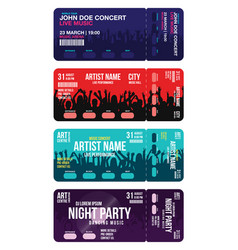 Set of concert ticket templates concert party or vector