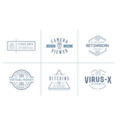 Set of cyber security identity badges and signs vector