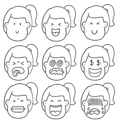 set of girl face vector image
