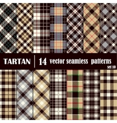 Set Tartan Seamless Pattern in gray and yellow vector