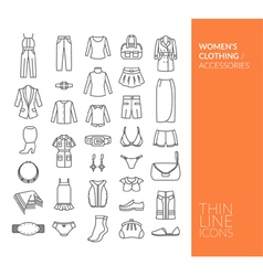 Set with thin line icons with clothing vector