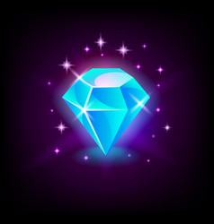 Shining blue diamond gemstone slot icon vector