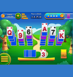 solitaire gameplay screen with gui - mobile game vector image