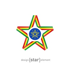 Star with flag of Ethiopia colors and symbols vector