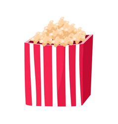 Stripy paper bucket with popcorn snack cinema and vector