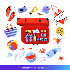 Summer seaside vacation top view set vector